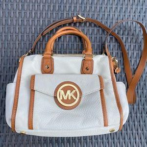 Michael Kors Leather White & Tan Margo Satchel